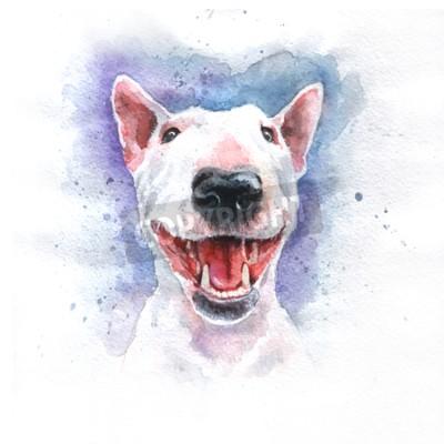 Obraz Akwarele ręcznie rysowane jasnym kolorze Bulterier
