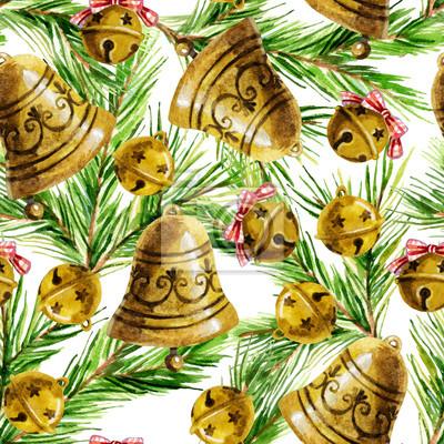 Akwarele tła z Christmas dekoracji dzwon