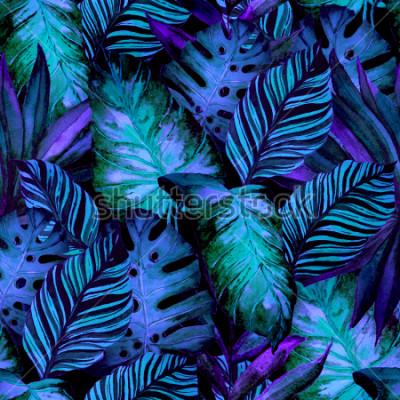 Obraz Akwarelowy wzór z tropikalnych liści: palmy, monstera, marakuja. Piękny nadruk allover z ręcznie rysowanymi egzotycznymi roślinami. Projektowanie botaniczne strojów kąpielowych.