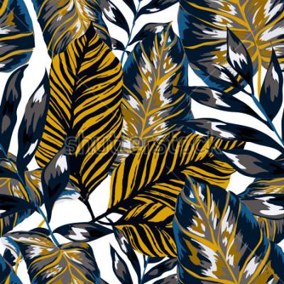 Obraz Akwarelowy wzór z tropikalnych liści: palmy, monstera, marakuja. Piękny nadruk allover z ręcznie rysowanymi egzotycznymi roślinami. Projektowanie botaniczne strojów kąpielowych. Wektor
