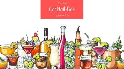 Obraz Alcoholic cocktail. Hand drawn vector illustration. Hand drawn drinks illustration. Cocktails set. Menu design elements.
