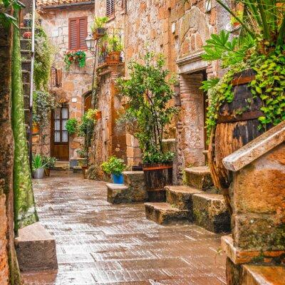 Obraz Aleja w starym mieście Pitigliano Toskanii we Włoszech