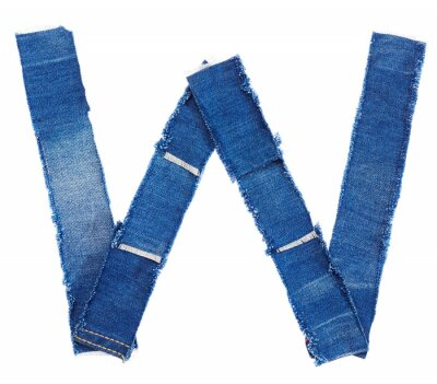 Obraz Alfabet z tkaniny jeans samodzielnie na białym tle. Litera a