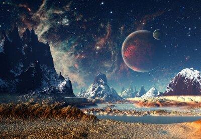 Obraz Alien Planet - grafika komputerowa 3D renderowane