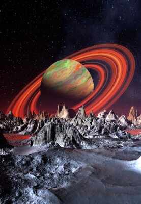 Obraz Alien Planet i Saturn jak Planet