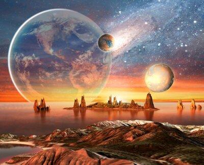 Obraz Alien Planet Z Gór Księżyca i Ziemi