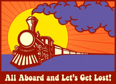 Obraz All aboard and let's get lost! Retro puffing steam train engine at sunset, express train
