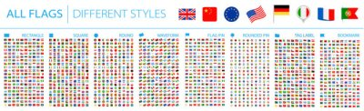 Obraz All World Flags - Big Set. Different styles. Vector Flat Icons