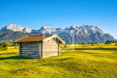 Alpejski łąki z chaty i gór w tle