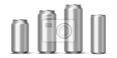 Obraz Aluminium beer, energy drink or soda pack mock up. Vector realistic blank metallic cans isolated on white background.