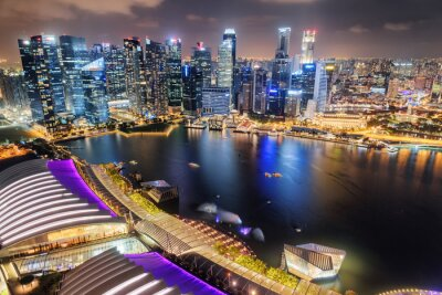 Amazing night aerial view of Marina Bay in Singapore