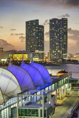 Amazing night view of Miami Port and city skyline