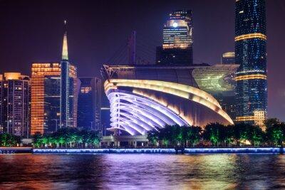 Amazing night view of modern buildings in Guangzhou, China