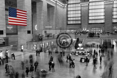American Flag w Grand Central Station w Nowym Jorku