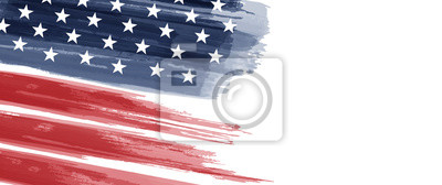 Obraz American National Holiday. US Flag with American stars, stripes and national colors. Watercolors.