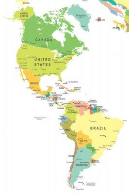 Obraz Ameryka Północna i Południowa mapę - bardzo szczegółowe ilustracji wektorowych.