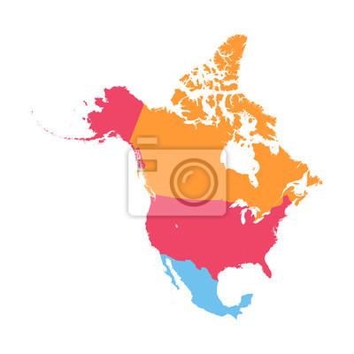Obraz Ameryka Północna map wektorowych