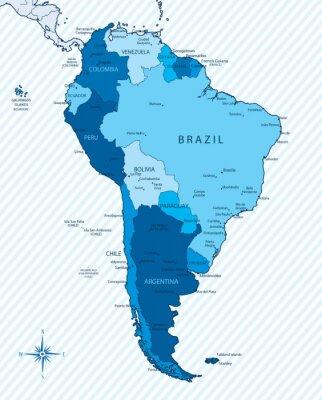 Obraz Ameryka Południowa map? Z krajów i miast