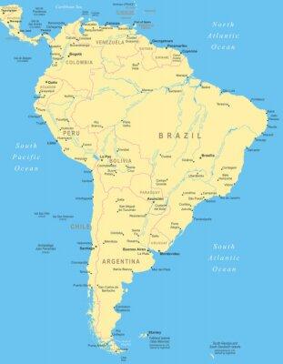 Obraz Ameryka Południowa mapa - bardzo szczegółowe ilustracji wektorowych.