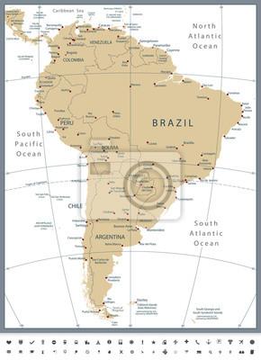 Ameryka Południowa Mapa polityczna i Ikony Glyph