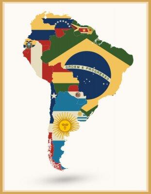 Obraz Ameryka Południowa mapa z flagami i kolorów vintage