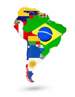 Obraz Ameryka Południowa mapa z flagami i umieszczeniem na mapie świata