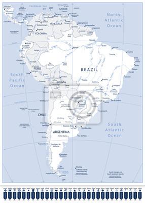 Ameryka Południowa Szczegółowa mapa i wskazówki