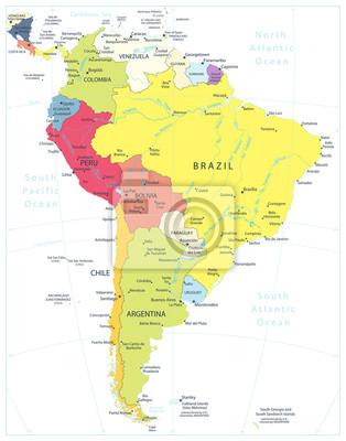 Ameryka Południowa Szczegółowa mapa polityczna Na Białym