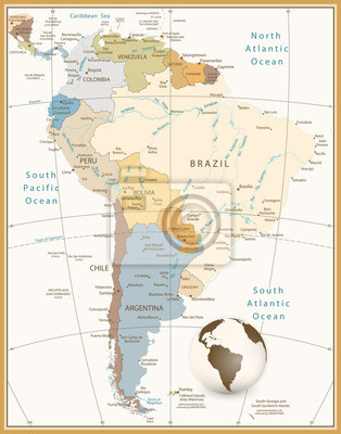 Ameryka Południowa Szczegółowa mapa Retro Style