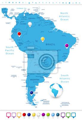 Ameryka Południowa szczegółową mapę z mapą Wskaźniki