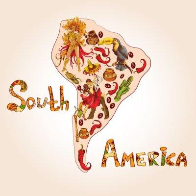 Obraz Ameryka Południowa szkic koncepcji