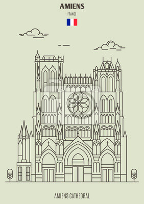 Amiens Cathedral in Amiens, France. Landmark icon