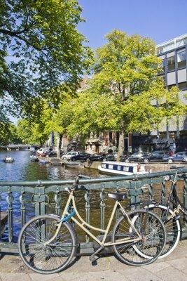 Obraz Amsterdam kanał i rower