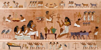 Obraz Ancient Egypt frescoes. Life of egyptians. Agriculture, workmanship, fishery, farm. Hieroglyphic carvings on  exterior walls of an ancient temple