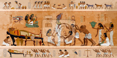 Obraz Ancient Egypt. Mummification process. Concept of a next world. Pharaoh sarcophagus. Egyptian gods, mythology. Hieroglyphic carvings. History wall painting, tomb King Tutankhamun