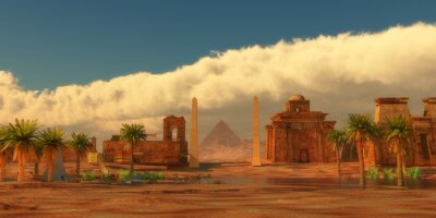 Obraz Ancient Egyptian City - A legendary Egyptian city in the desert next to the Nile river full of buildings and a pyramid.