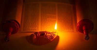 Obraz Ancient Lamp Illuminating the Hebrew Text of the Torah