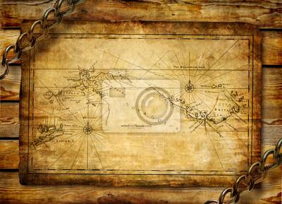 ancient map na tle drewniane