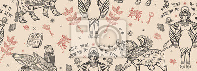 Obraz Ancient Sumerian Civilization. Vintage seamless pattern. Old school tattoo style. Assyrian culture. Gilgamesh legends. Middle East history background. Mesopotamian goddess. Cuneiform writing, ziggurat