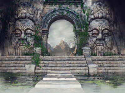 Obraz Ancient temple with stone heads, stairs, a pool and green ivy in the mountains. 3D render.
