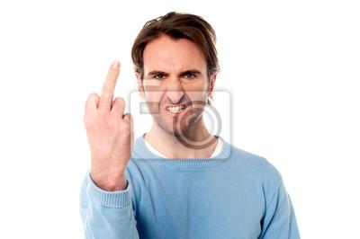 Obraz Angry young man pokazując środkowy palec
