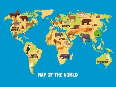 Obraz Animals World Map