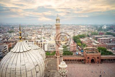 Obraz Antena widok starych delhi z dachu jama masjid