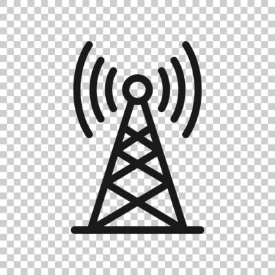 Obraz Antenna tower icon in flat style. Broadcasting vector illustration on white isolated background. Wifi business concept.