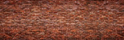 Obraz Antique brick wall, panoramic view. Grunge stone texture.