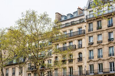Antique building view in Paris city, France