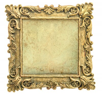 Obraz Antique golden picture frame with canvas on white background