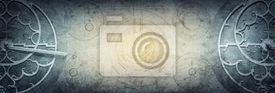 Obraz Antyczni astronomiczni instrumenty na roczniku tapetują tło. Streszczenie stare koncepcyjne tło dotyczące historii, mistycyzmu, astrologii, nauki itp. Styl retro.