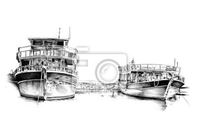 antyczny morze łódź motywem handmade rysunek