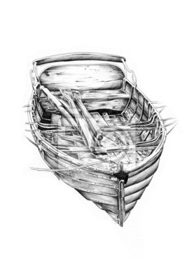 Obraz antyczny morze łódź motywem handmade rysunek
